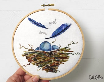 Sweet Dreams Nursery Decor, Mom To Be Gift, Bird Nest Embroidery Hoop Art, Baby Room Wall Art, Blue Jay Feathers Woodland Art, Girls Room