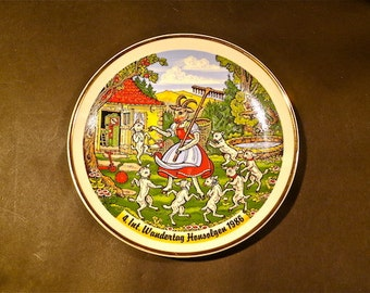 Boldy Colorful German Festival Plate With Goat Girl And Dancing Goats