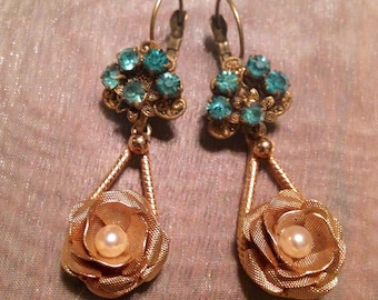 Vintage Rose Earrings 1930 1940 Bridal Wedding Art Deco Nouveau Turquoise Aqua Czech Pearl Dangles
