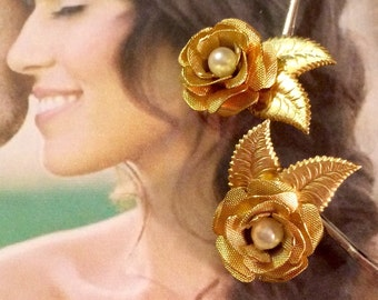 Gold Rose Pearl Hair Pins Decorative Hair Pins Jewelry Romantic Woodland Bridal Bobby