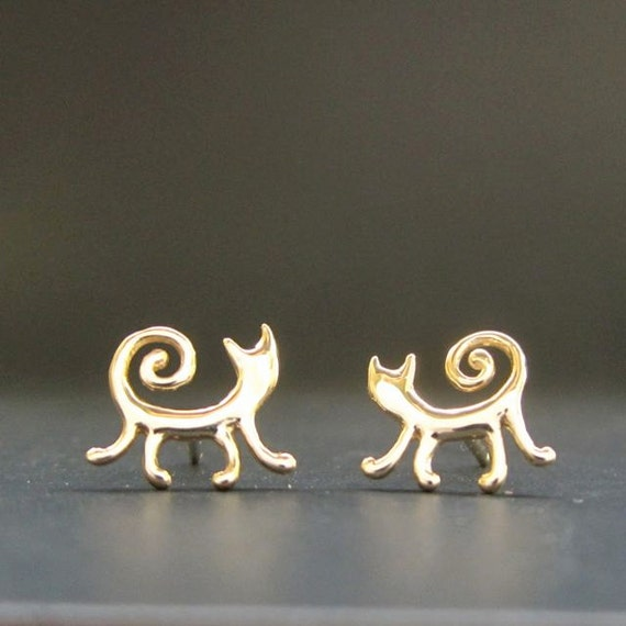 gold cat studs solid 14k posts earrings by