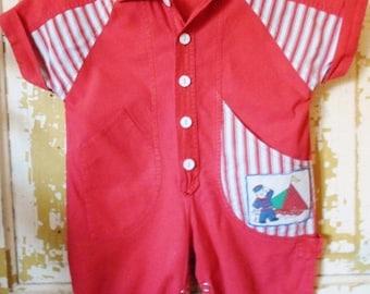 ON SALE Vintage One Jumpsuit, Baby Boy, Little Boy, Sailor, Snap Crotch, Red, White Blue, Button Down, 100% Cotton, 12 Months, Machine Wash