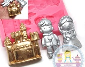 Prince Princess Castle Silicone Mold 469L Fondant Gum paste Polymer Clay fimo Cookie topping Chocolate Melts BEST QUALITY