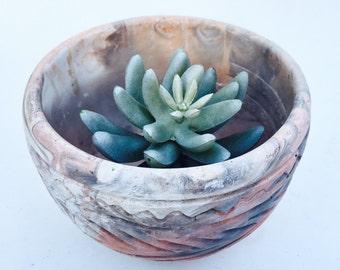 Vintage Southwest Comanche Marble Pottery Planter Bowl