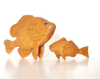 Set of 2 Hand Carved Wood Koy Fish Figurines