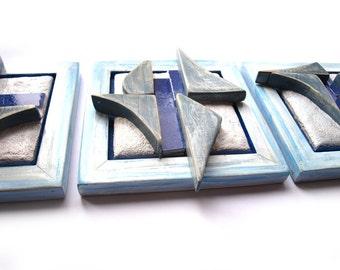 Abstract wall art, Set of 3, Mixed media wall art, Abstract 3d sculpture, Blue sculpture, Beach house decoration, Nautical decor
