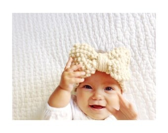 Knitted Head Band for Baby Girl with Big Bow, Baby Knitted Headband Earwarmer, Toddler Knit Headband, Baby Girl Bow Headband, chunky knit