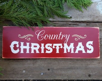 COUNTRY CHRISTMAS, Wooden Sign.  Painted Christmas Sign.  Christmas Decor.  Holidays.  Folk Art Primitive