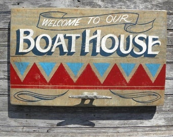 Boat House Sign, hand painted, wall decor, ZM BH 3