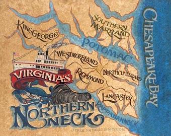 Northern Neck of Virginia  Print , retro map-art