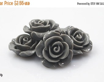 ON SALE Resin Cabochon - 5pcs - Flower Cabochon - Gray - Cabochon - 14mm - SW007-3