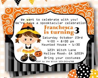 Halloween Birthday Invitations, Candy Corn Witch Birthday, Halloween Birthday Invites, Witch Birthday Invitations, Halloween Invite - H57