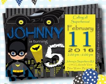 Batman Birthday Invitation, Batman Invitations, Batman Invites, Batman Party, Batman Birthday Party, Superhero Birthday Invitations - #S70