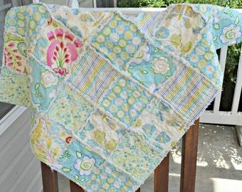 Baby rag quilt, homemade rag quilt, ready to ship quilt, Kumari garden quilt, blue quilt, baby girls quilt, floral quilt pink quilt
