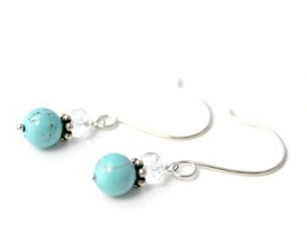 Turquoise Howlite, Crystal, and Sterling Silver Earrings / Bohemian Jewelry / Handcrafted Natural Stone Earrings / Boho