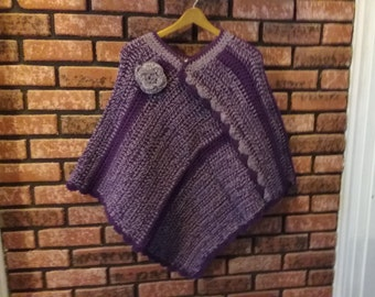 plum and orchid ladies or teenagers poncho
