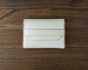 Hand-sewn fat card case wallet - Natural vegetable tanned leather business card case