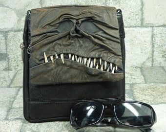 Necronomicon Purse Small Messenger Bag Cross Body H.P. Lovecraft Evil Dead Monster Black Brown Leather