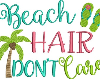 Beach Hair Don't Care Embroidery Design Set - Instant Download