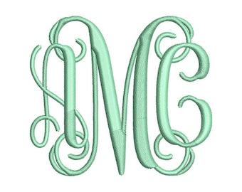 Interlocking Vine Monogram Embroidery Font Set - Instant Download