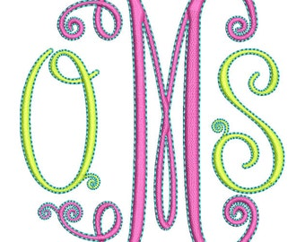 Swirly Monogram Embroidery Font Set - Instant Download