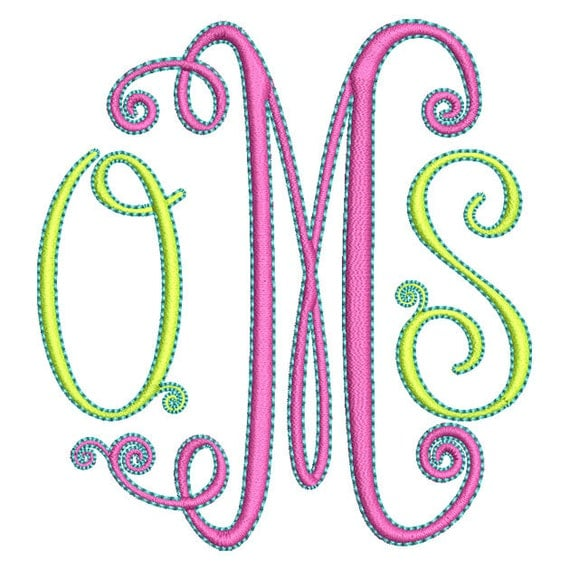 Swirly monogram embroidery font set instant download
