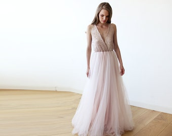 Pink sequined tulle gown, Maxi Tulle and sequined pink gown 1094
