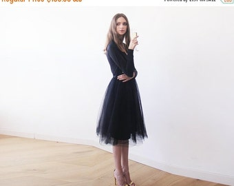 Black midi length tulle gown with long sleeves , Black bridesmaids tulle gown