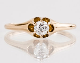 Antique Engagement Ring - Antique 14k Yellow Gold Diamond Engagement Ring