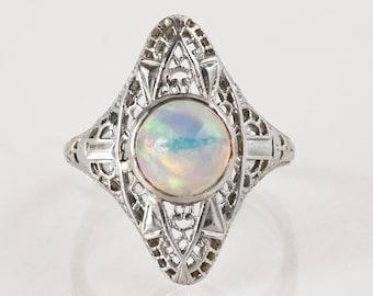 Antique Ring - Antique Edwardian 18k White Gold Filigree Opal Ring