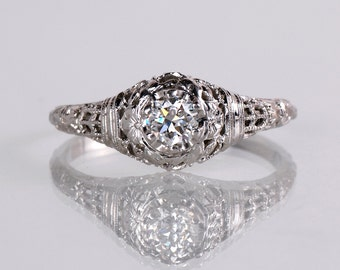 Antique Engagement Ring - Antique 18K White Gold Diamond Engagement Ring