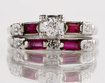 Antique Engagement Ring - Antique 1930's 14k White Gold Diamond and Ruby Wedding Set