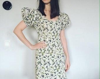 YSL dress, Yves Saint Laurent, Designer Dress, Rive Gauche, Puffed Sleeve Mini Dress S, Floral Pattern Dress, Vintage Designer Dress