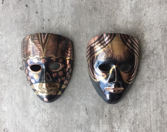 Mask Copper and Brass, Metal Art, Pair of Masks, Vintage Retro Mask, Copper Decor, Brass Decor, Tribal Mask, Wall Decor, Wall Hanging