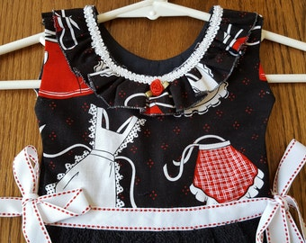Apron Motif in Red White and Black Oven Door Kitchen Dish Towel Dress