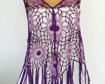 Purple Crochet Shawl | Boho Gypsy Shawl | Hippie Patchwork | All Season Fashion | Handmade |%100 cotton-merserized