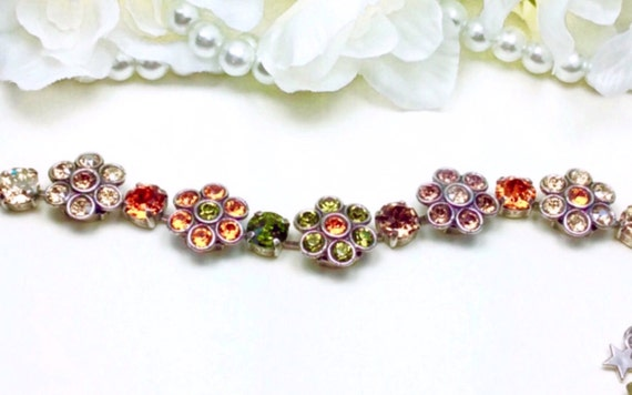 Swarovski Crystal Flowers Bracelet -   - Multi - Colored Fall Flowers - Wrist Candy - Designer Inspired - FREE SHIPPING