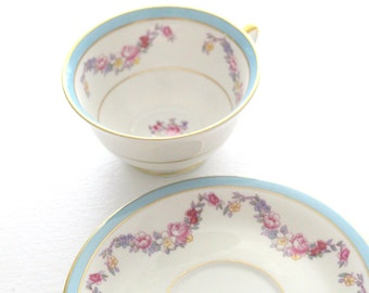 Vintage Tea Cup and Saucer by Jackson Featherweight China, Made in U.S.A., Tea Party, Replacement China