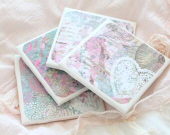 Handmade Ceramic Tile Coasters, Set of 4, Barware, Housewarming Gift Inspiration
