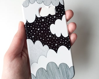 Cloudy night mobile phone case / Samsung Galaxy S7, Samsung Galaxy S6, Samsung Galaxy S6 Edge, Samsung Galaxy S5 / illustrated phone case