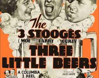 The Three Stooges Reproduction Movie Stand-Up Display The Three Little Beers - Movies Comedy Slapstick Moe Larry Curly kiss76