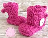 Crochet Baby Girl, Crochet Baby Booties, Crochet Baby Boots, Hot pink Baby Booties, Crochet Booties, Baby Girl Shoes, UGG