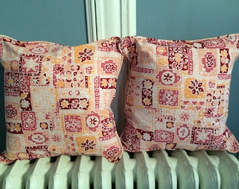 """NEW! Vintage Pink Tiki Pillow Cover With Piping Envelope Back Cotton for 16"""" - 17"""""""