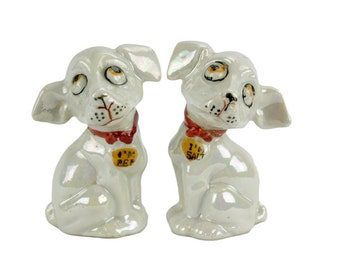Vintage Mid Century Lusterware Dog Salt and Pepper Shakers // I'm Pep and I'm Salt // Pearl Iridescent Dog Salt and Pepper // Made in Japan