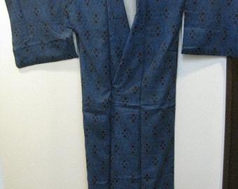 Vintage Kimono, Silk, Blue, No.16