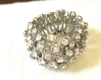 Ambers Vintage Sparkly Stretchy Rhinestone Ring Bling Fits Any Size Bold Starement Ring
