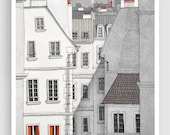 Paris illustration - Rue Sainte Croix - Illustration Giclee Fine Art Print Paris Prints Posters Home Decor Architectural Drawing Grey Facade