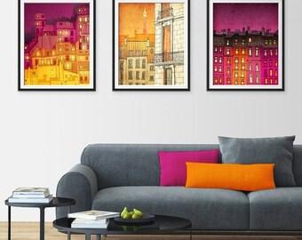 20% OFF SALE: Any THREE Prints - Save 25 Percent,Set of three Illustrations,Illustration Fine art Giclee print Home decor Wall art Living ro