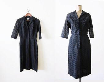1960s Dress / Black Lace Dress / 60s Dress / Shirtwaist Dress / Eyelet Dress / Rockabilly Clothing / 60s Dress Small