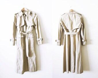 Trench Coat / Womens Khaki Tan Trench Coat / 60s Coat / XS